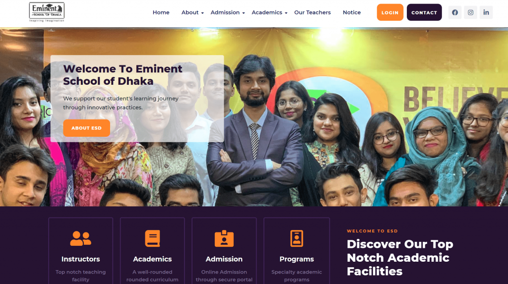 Eminent School of Dhaka WordPress Theme Customization Page 1
