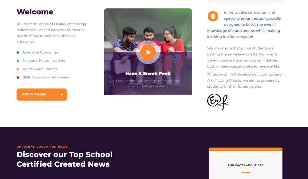 Eminent School of Dhaka WordPress Theme Customization Page 2