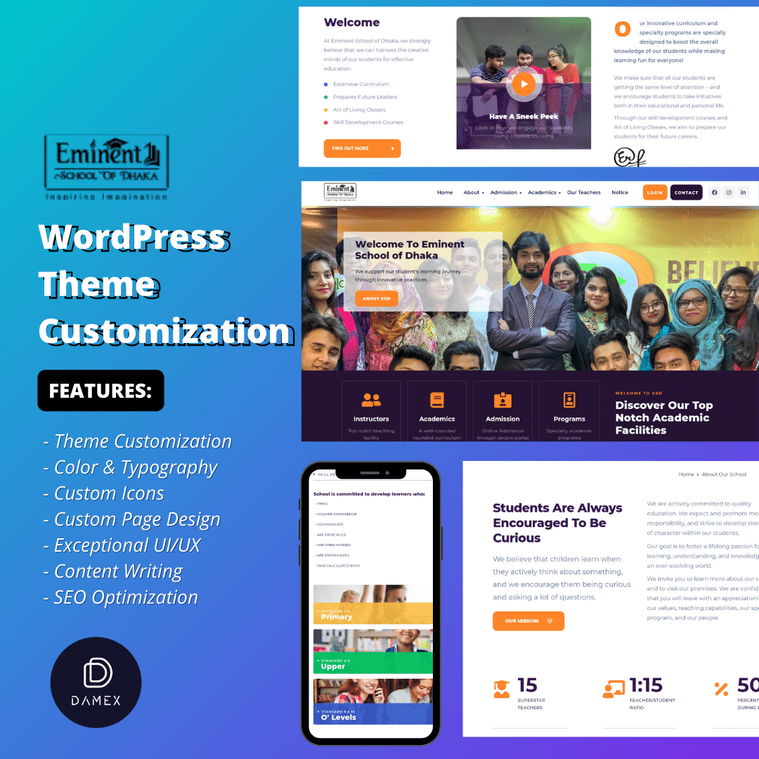 Eminent School of Dhaka – WordPress Theme Customization